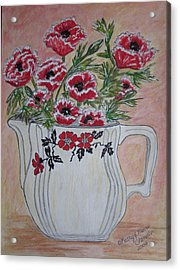 Acrylic Print featuring the painting Hall China Red Poppy And Poppies by Kathy Marrs Chandler