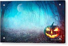 Halloween Background. Spooky Pumpkin Acrylic Print