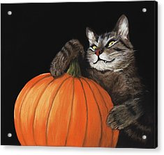 Acrylic Print featuring the painting Halloween Cat by Anastasiya Malakhova