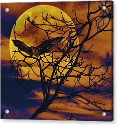 Acrylic Print featuring the painting Halloween Full Moon Terror by David Mckinney