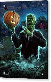 Halloween Ghoul Rising From Grave With Pumpkin Acrylic Print by Martin Davey