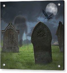 Halloween Graveyard Acrylic Print by Amanda Elwell