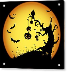 Halloween Haunted Tree Acrylic Print