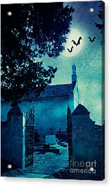 Halloween Illustration With Graveyard Acrylic Print by Mythja  Photography