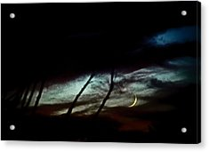 Halloween Moon Over Tucson Desert Acrylic Print by Jon Van Gilder