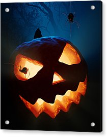 Halloween Pumpkin And Spiders Acrylic Print by Johan Swanepoel