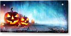 Halloween Pumpkins On Wood In A Spooky Acrylic Print