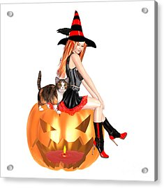 Halloween Witch Nicki With Kitten Acrylic Print