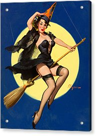 Halloween Witch Pinup Girl Acrylic Print by Tilen Hrovatic