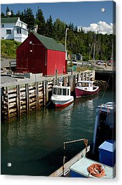 Halls Harbour Fishing Cove Acrylic Print by Norman Pogson