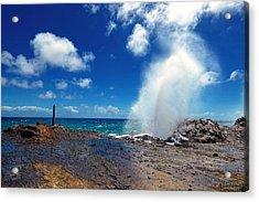 Acrylic Print featuring the photograph Halona Blowhole Misty Geyser by Aloha Art