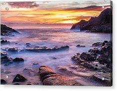 Halona Cove Sunrise 3 Acrylic Print by Leigh Anne Meeks