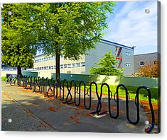 Acrylic Print featuring the photograph Bike Rack by Laurie Tsemak