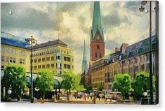 Hamburg Street Scene Acrylic Print by Jeff Kolker