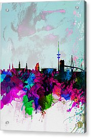 Hamburg Watercolor Skyline Acrylic Print by Naxart Studio
