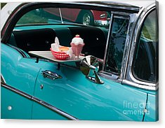 Acrylic Print featuring the photograph Hamburger Drive In Classic Car by Gunter Nezhoda