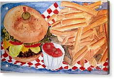 Hamburger Plate With Fries Acrylic Print