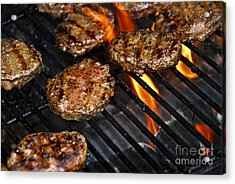 Hamburgers On Barbeque Acrylic Print by Elena Elisseeva