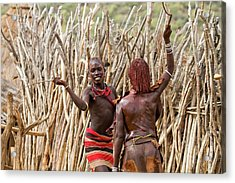 Hamer Man With Reed Whip Acrylic Print by Photostock-israel