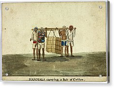 Hammals Carrying A Bale Of Cotton Acrylic Print by British Library