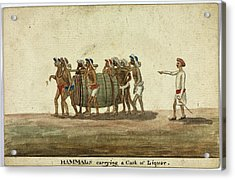 Hammals Carrying A Cask Of Liquor Acrylic Print by British Library