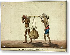 Hammals Carrying Oil Or Ghee Acrylic Print by British Library
