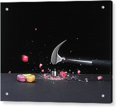 Hammer Smashing A Boiled Sweet On Surface Acrylic Print by Dorling Kindersley/uig