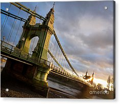 Acrylic Print featuring the photograph Hammersmith Bridge In London by Peta Thames