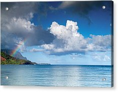 Hanalei Bay And Rainbow Acrylic Print by Roger Mullenhour
