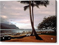 Hanalei Bay Hammock At Dawn Acrylic Print by Kathy Yates