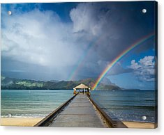 Hanalei Bay Pier And Double Rainbow Acrylic Print by Roger Mullenhour