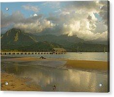 Hanalei Bay Reflections - Kauai Acrylic Print by Stephen  Vecchiotti