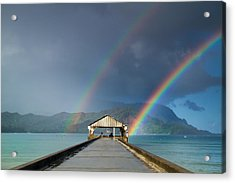 Hanalei Pier And Double Rainbow Acrylic Print by Roger Mullenhour