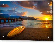 Hanalei Pier In Kauai At Sunset Acrylic Print