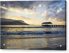 Hanalei Pier Sunset Acrylic Print by Saya Studios