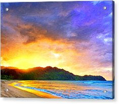 Hanalei Sunset Acrylic Print by Dominic Piperata
