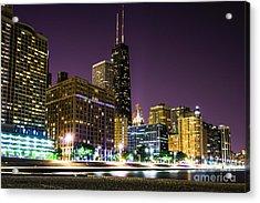 Hancock Building With Dusk Chicago Skyline Acrylic Print by Paul Velgos