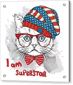 Hand Draw Cat In A Usa Hat. Vector Acrylic Print by Sunny Whale