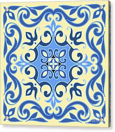 Hand Drawing Tile Pattern In  Blue And Acrylic Print