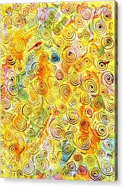 Hand-drawn Abstract Background With Spirals On Yellow Green Pink Acrylic Print by Ion vincent DAnu