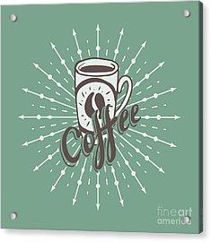 Hand Drawn Background With Coffee Mug Acrylic Print