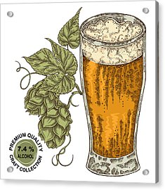 Hand Drawn Beer Glass With Hops Plant Acrylic Print