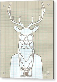Hand Drawn Hipster Deer In Sunglasses Acrylic Print