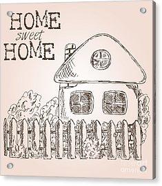 Hand Drawn Ink Sketch Home. Village Acrylic Print