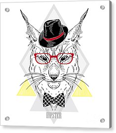 Hand Drawn Portrait Of Hipster Lynx In Acrylic Print