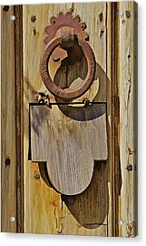 Hand Forged Iron Door Handle Acrylic Print by David Letts