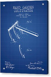Hand Garden Cultivator Patent From 1889 - Blueprint Acrylic Print