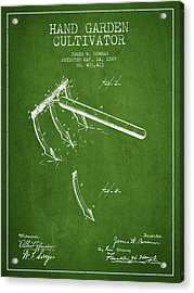 Hand Garden Cultivator Patent From 1889 - Green Acrylic Print