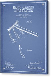 Hand Garden Cultivator Patent From 1889 - Light Blue Acrylic Print