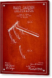 Hand Garden Cultivator Patent From 1889 - Red Acrylic Print